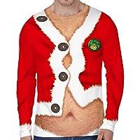 Navidad Sudadera Hombre Camiseta de Manga Larga Suéter Unisex Divertido de Cuello Redondo con Patrones Navideños de…