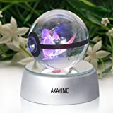 AXAYINC 3D Crystal Ball LED Night Lights Advance Laser Engraving Children's Gift (Dragonite)