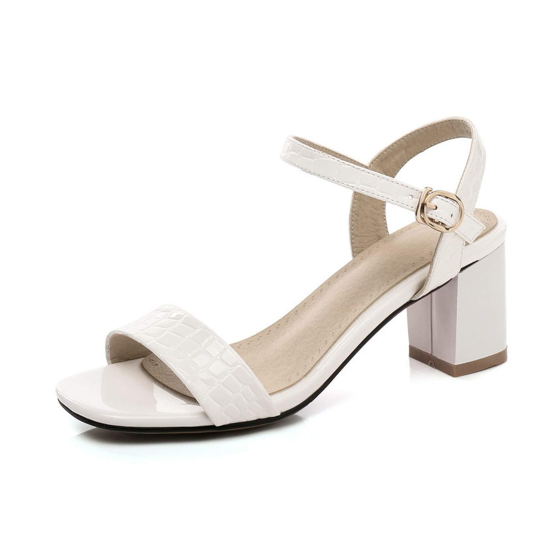Charismatic-Vibrators Women Sandals Patent Leather Fashion Women Shoes Buckle Square High Heel Sandals