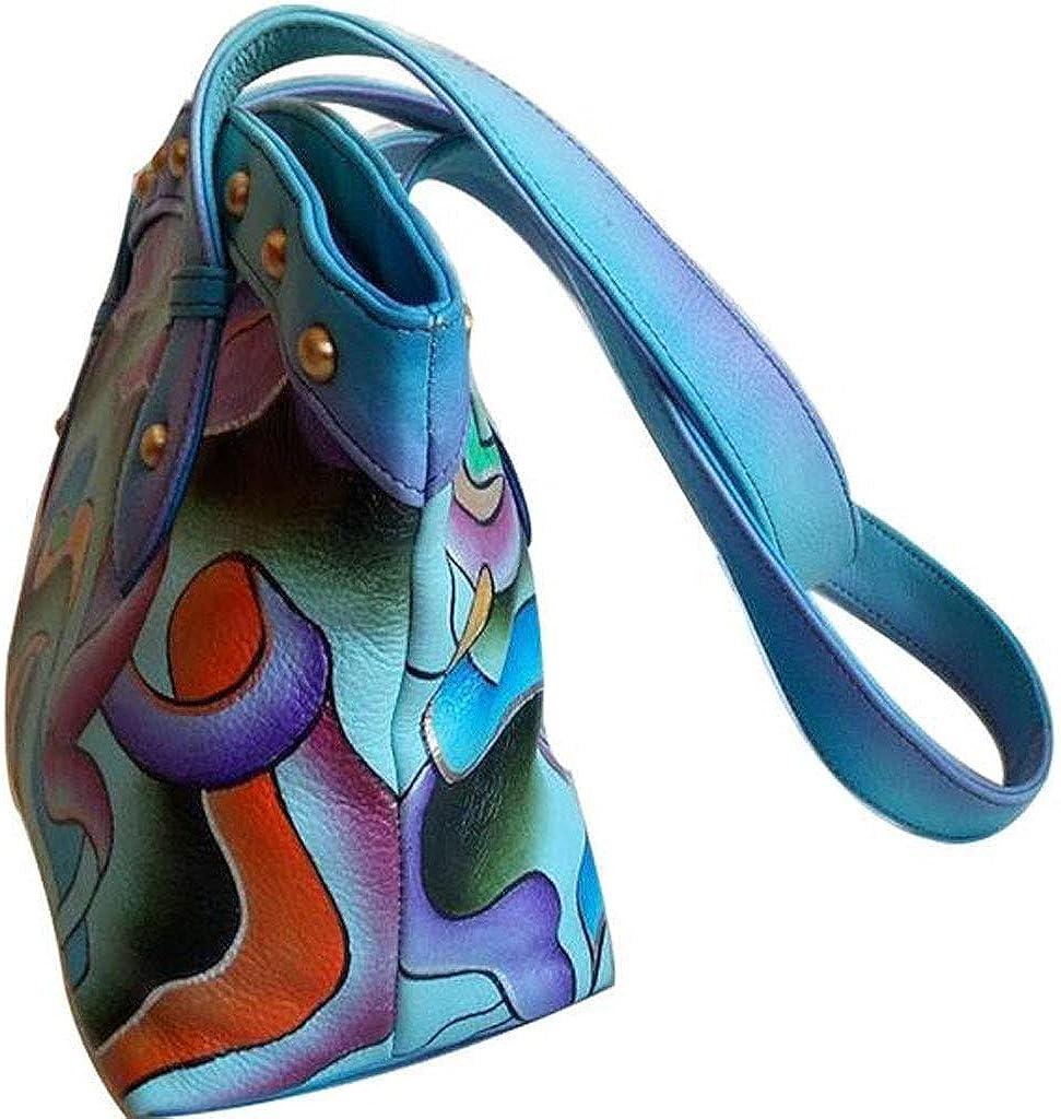 Womens Handpainted Leather Handbag Abstract Art Designer Genuine Cowhide Ladies Shoulder Bag