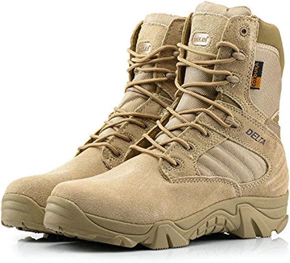ATAIRSOFT Hombres Ejército Militar Táctico Deportes al Aire Libre Camping Senderismo Trabajo de Combate Cordones Transpirable Alto Top Cremallera Lateral Desierto Zapatos de Cuero Botas DE Tan Khaki