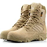 Worldshopping4U Men Military Army Tactical Outdoor Sports Camping Hiking Work Combat Lace Up Breathable High Top Side Zipper Desert Leather Shoes Boots DE Tan Khaki