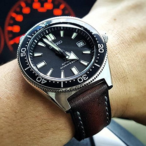 Custom 21mm Handmade Premium Calf Leather Watch Band Gunny Straps - Java Chip by Gunny Store