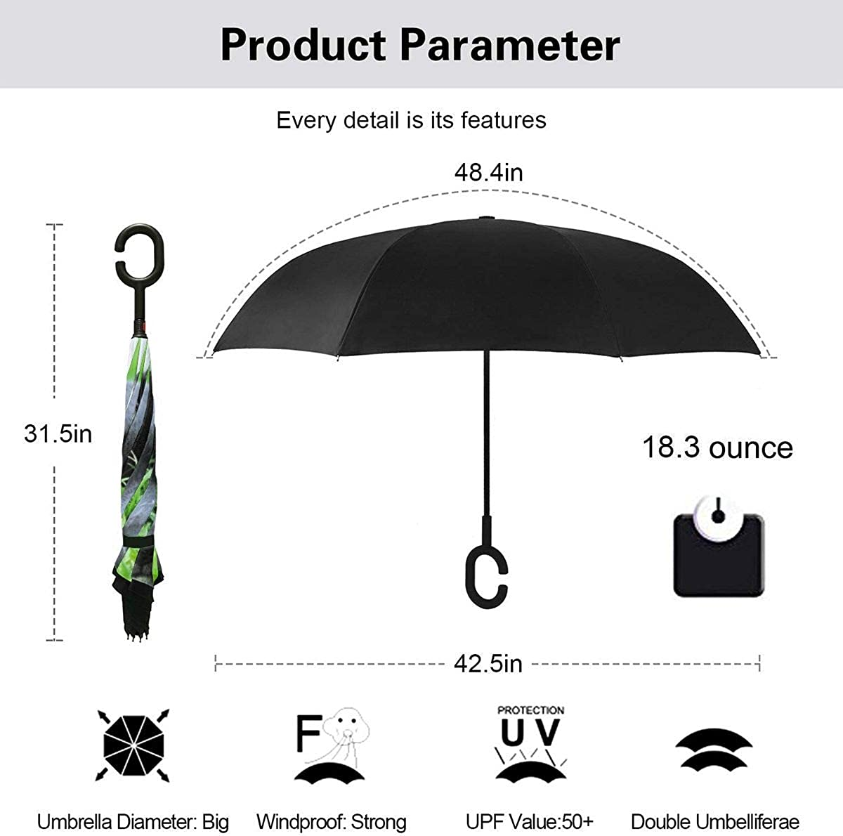 Reverse Umbrella Double Layer Inverted Umbrellas For Car Rain Outdoor With C-Shaped Handle Dog Young Dog Puppy Black Customized