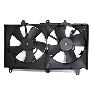 Dual Radiator A/C Condenser Cooling Fan Motor Assembly Fit for 2003-2006 Nissan 350Z & 2003-2007 Infiniti G35