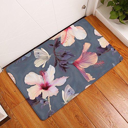 YJ Bear Thin White Butterfly Purple Leaf Print Indoor Floor Mat Rectangle Doormat Entry Mat Home Decor Carpet Kitchen Floor Runner 20' X 31.5'
