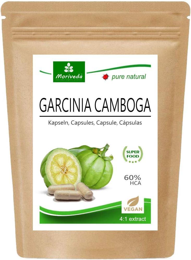 Garcinia Cambogia 90 cápsulas vegetarianas (4:1 extracto, 60% HCA) polvo de fruta con calcio, bloqueador de grasa, fat blocker - garantizado libre de agentes de liberación y estearatos (1x90)