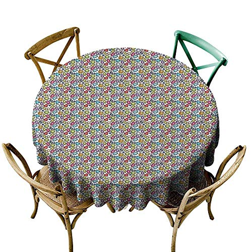 ScottDecor Round Tablecloth Diamonds,Hand Drawn Sketch Style Pattern Colorful Crystal Arrangement Pear Pentagon Oval,Multicolor D36,for 40 inch ()