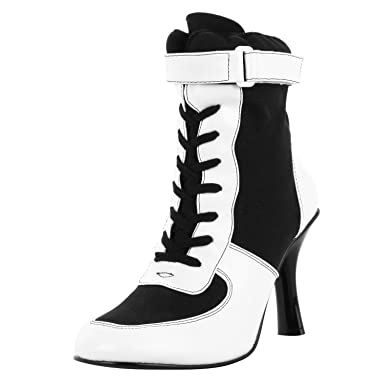 Amazon.com: 3 3/4 Inch Heel Referee Costume Boot Black White Lace ...