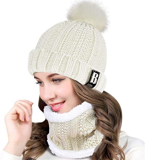 Heekpek Bonnet écharpe Femme Ensemble 2 En 1 Chapeau à Pompon Chaud Cache Cou Tour De Cou Tricot De Doublure Polaire Hiver Pour Ski Plein Air