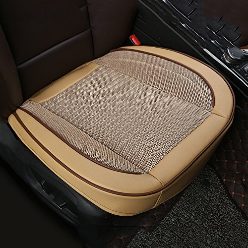 U&M Car Interior Seat Covers, Edge Wrapping Front Seat Cushion Protection Pad Leather & Linens Ventilated Breathable Comfortable, Anti-Skid Four Seasons Universal Fit (Beige)