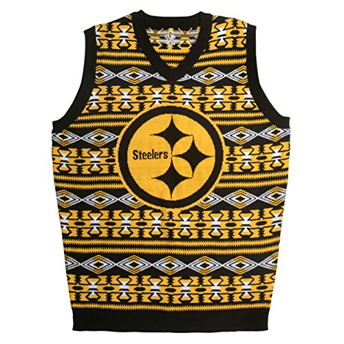 KLEW NFL Pittsburgh Steelers Ugly Sweater Vest, Small, Black