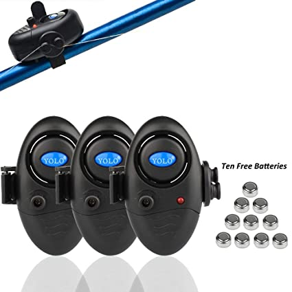 Shackcom 3 Sistema Electrónico Alarma Pesca de mordida picada de Pescado Sensible con indicador - Luminoso LED Ajuste de Sonido Vibración en la caña ...