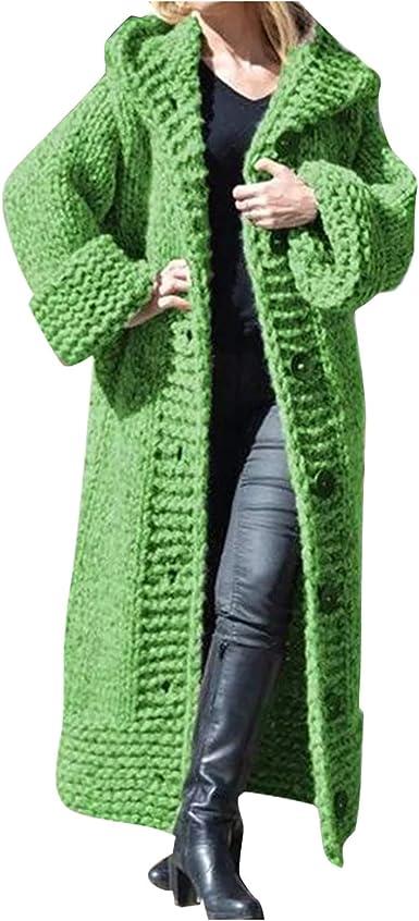 Ladies Open Front Knitted Loose Hooded Outwear Sweater Women Long Cardigan Coat