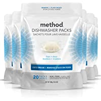 Method Dish Dishwasher Detergent Soap Pack, Free + Clear, 20 Count (Pack of 6) (Packaging May Vary)