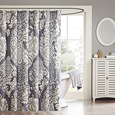 Madison Park MP70-1920 Vienna Shower Curtain 72x72 Slate, 72 x 72 - Set includes: 1 shower curtain Material: 100Percent cotton Measurement: 72-by-72-inch shower curtain - shower-curtains, bathroom-linens, bathroom - 61lZ2o7j2FL. SS400  -