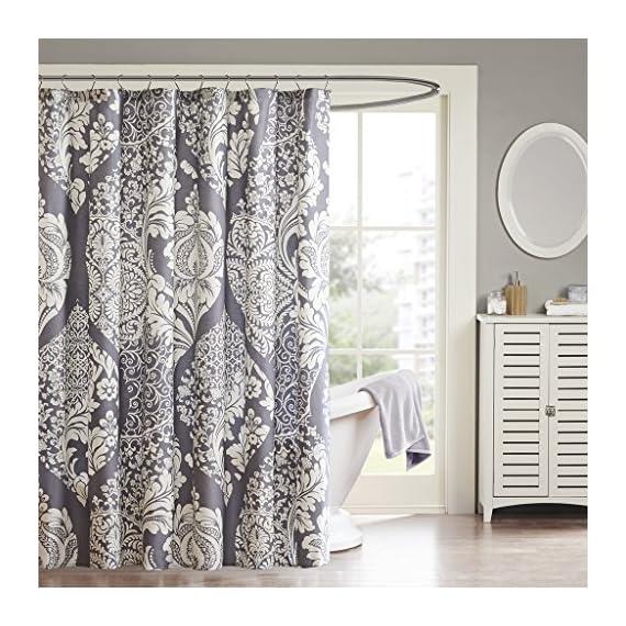 Madison Park MP70-1920 Vienna Shower Curtain 72x72 Slate, 72 x 72, - Set includes: 1 shower curtain Material: 100Percent cotton Measurement: 72-by-72-inch shower curtain - shower-curtains, bathroom-linens, bathroom - 61lZ2o7j2FL. SS570  -