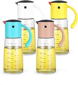 Vucchini 4pcs 300ml 11oz Gravity Olive Oil & Vinegar Dispenser Bottles Set,Oil Cruets Gift