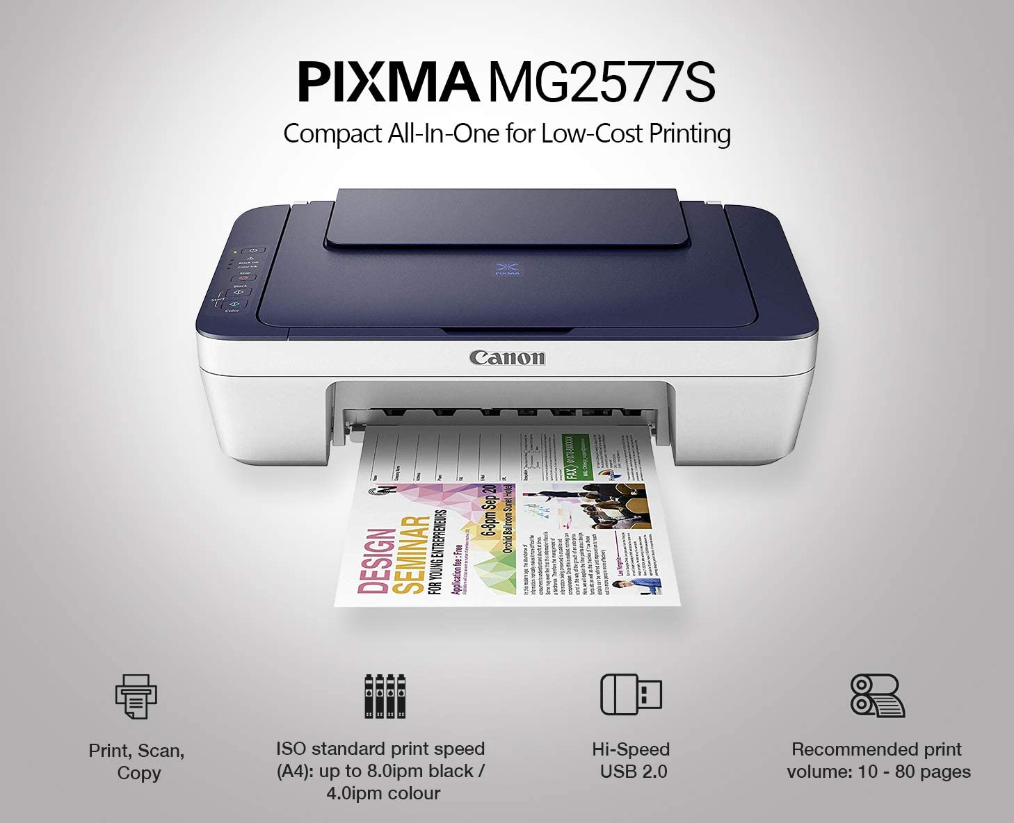 Canon Pixma MG2577s All-in-One InkJet Printer (Blue/White) at Rs 1999