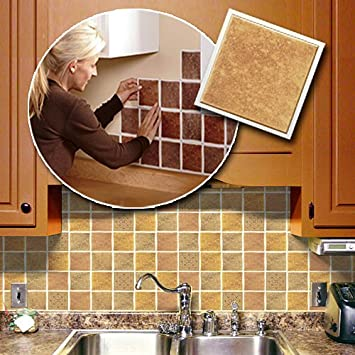 Amazoncom Self Adhesive Backsplash Wall Tiles HomeKitchen