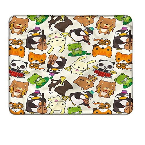 Nursery patterned mouse pad Cartoon Style Animal Music Band Penguin on Cello Cat on Guitar Panda on Drums Printcustomized mouse pad Multicolor - Animal Patterned Bands