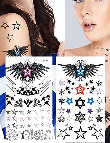 Supperb Temporary Tattoos - Star Assortment Tattoos (Variety Stars Set of 2)