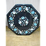 """17"""" Black Coffee Table Side Table End Table Patio Garden Table Sofa Table Octagon Shape Stones Inlai Marble Table Top"""