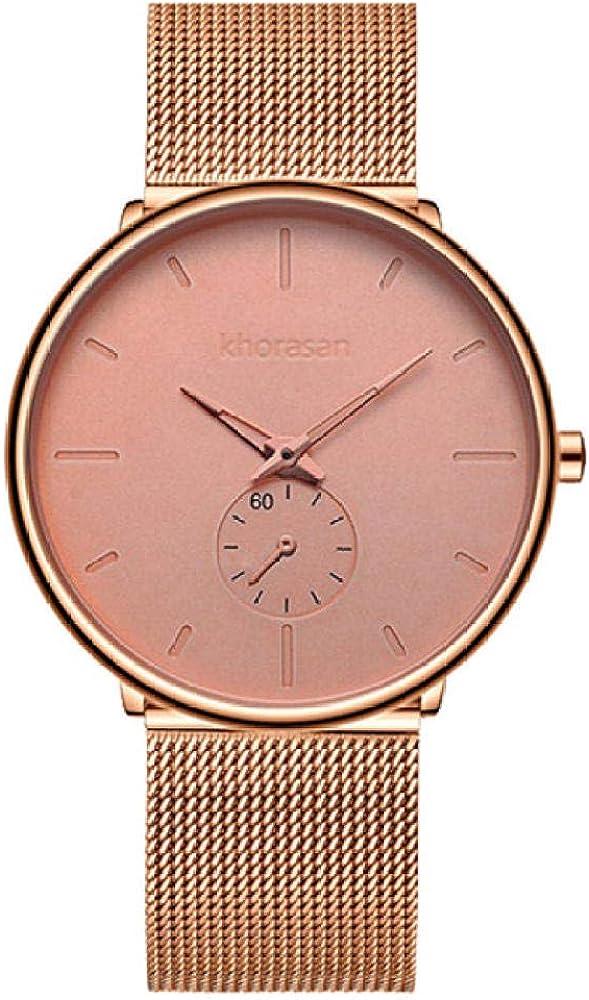 Relojes de Cuarzo para Hombres, Correa de Malla Reloj de Cuarzo analógico Hombres Fecha Vestido de Negocios Reloj Deportivo Impermeable