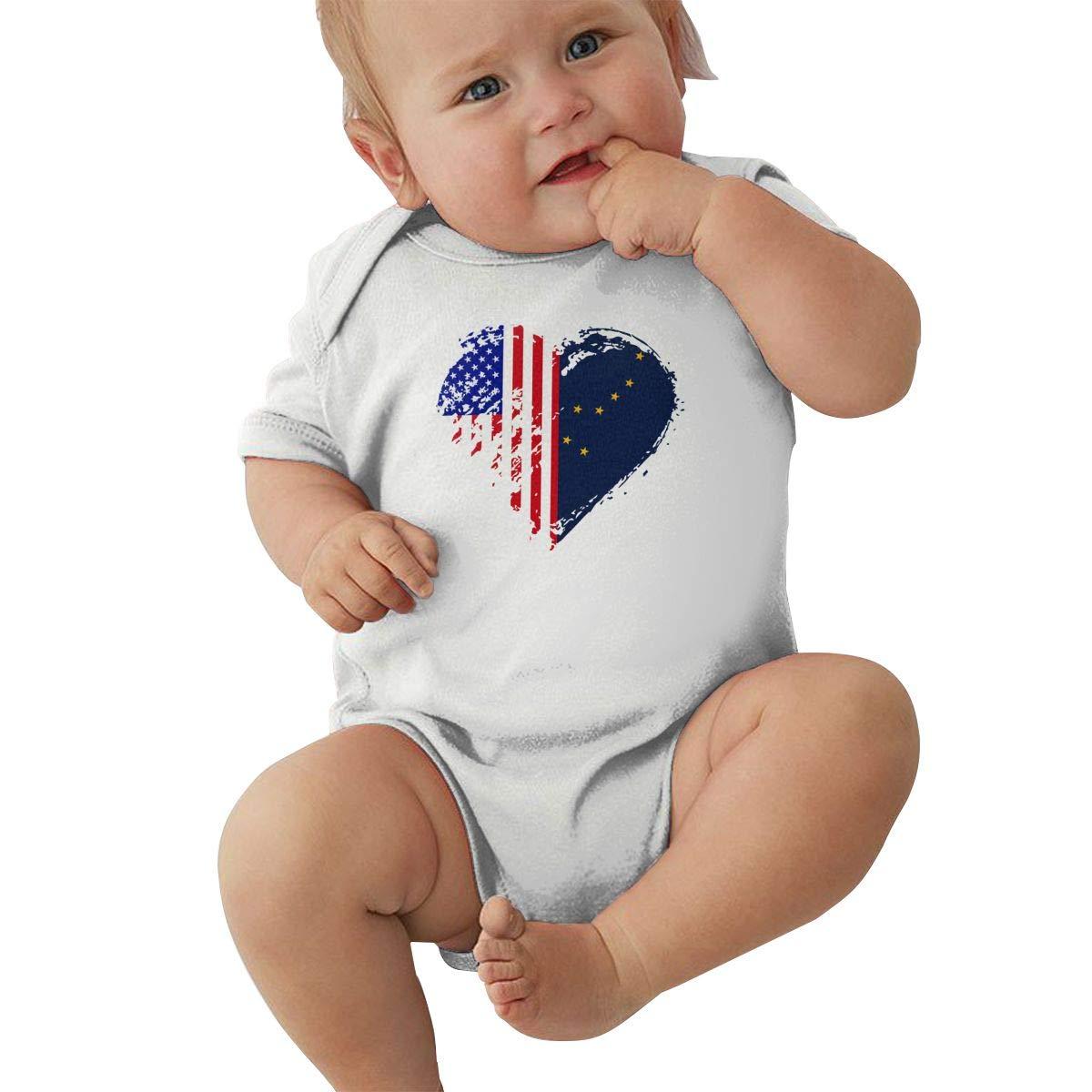 Mri-le2 Baby Boy Girl Short Sleeve Jersey Bodysuit Grungy Alaska American Flag Heart Toddler Clothes
