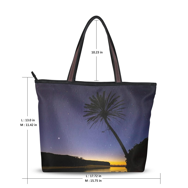 Women's New Fashion Handbag Night Views of Lake Design Personalized Shoulder Bags