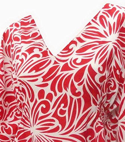 La Leela weiß And rot Tierhaut Gedruckt Strand Rohr Kaftan schwimmen überdecken