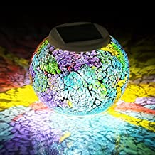 Pandawill Color Changing Solar Powered Glass Ball Led Garden Lights, Rechargeable Solar Table Lights, Outdoor Waterproof Solar Night Lights Table Lamps for Decorations, Ideal Gifts
