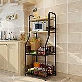 Kitchen Shelf / Floor Multilayer Metal Shelf / Microwave Rack / Seasoning Shelf ( Color : Black )