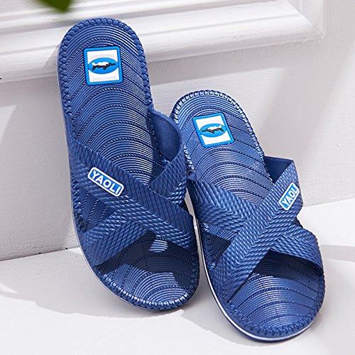Y-Hui, zapatillas de baño para hombres verano Mobiliario de Interior, plástico antideslizante Bañera Piso, Casa Enfriar zapatillas fondo blando Navy Blue