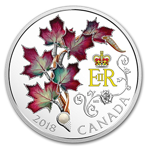 - 2018 CA RCM 1 oz Silver $20 Queen Elizabeth II's Maple Leaves Brooch 1 OZ Brilliant Uncirculated