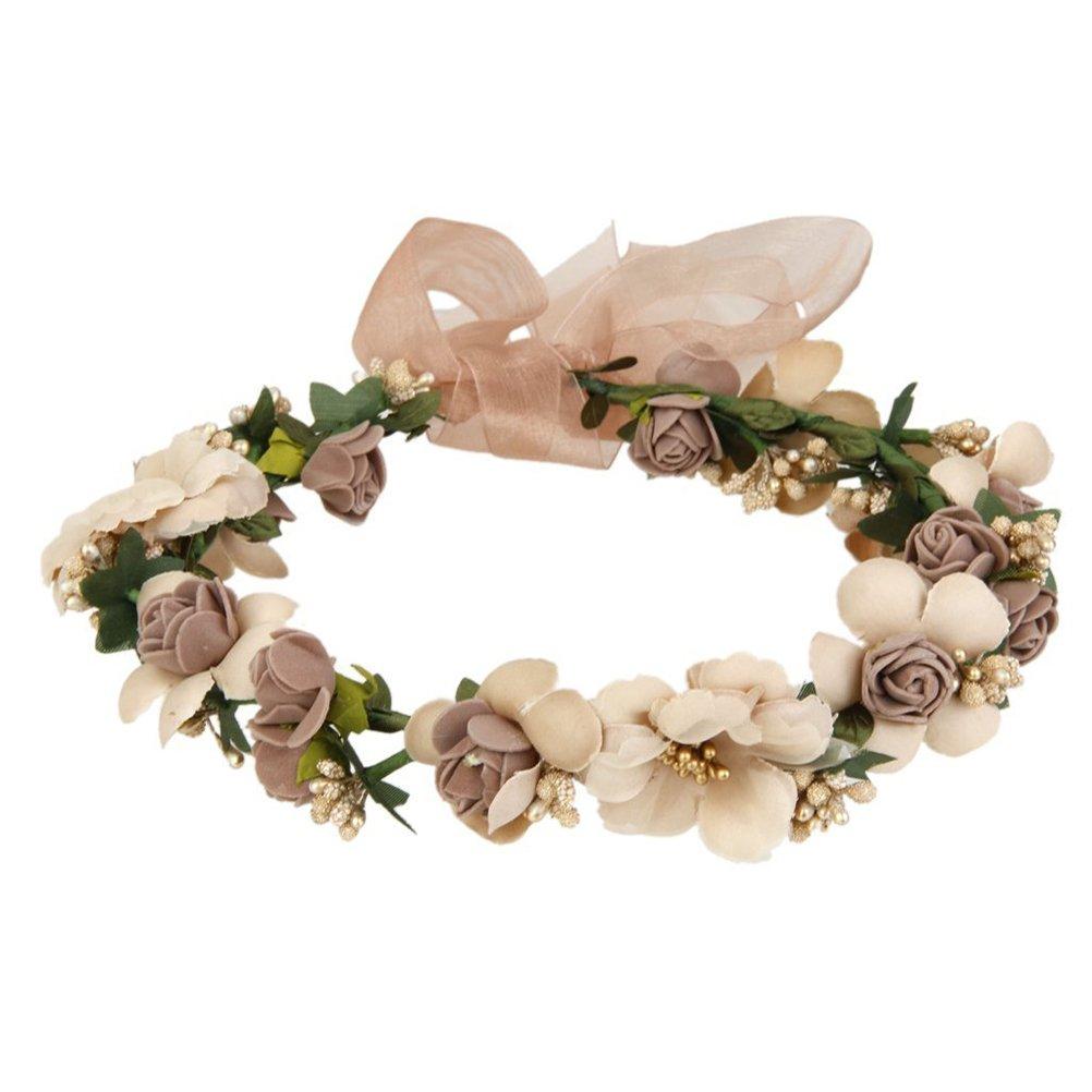 WINOMO Fleur Couronne Guirlande Tissu Fait Main Rose Perlé pour Mariée Fêtes Voyage Ruban Serre-tête fleur