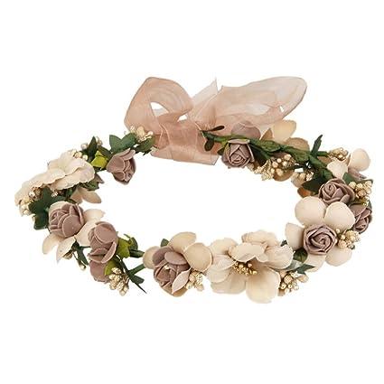 UEETEK Flores cabello Garland diadema rosa con cuentas banda de Dama de  honor para el banquete dd133d0a67ca