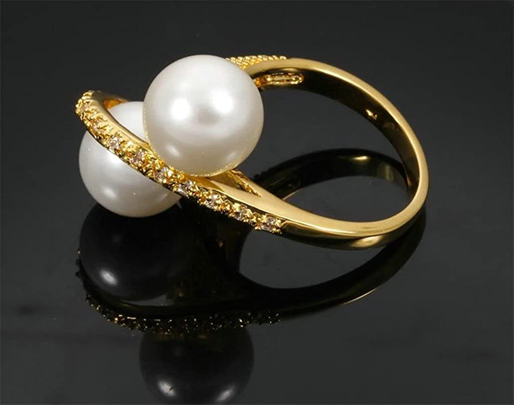 Bishilin 18K Gold Plated Pearls Wedding Rings And Engagement Rings For Women Size 8