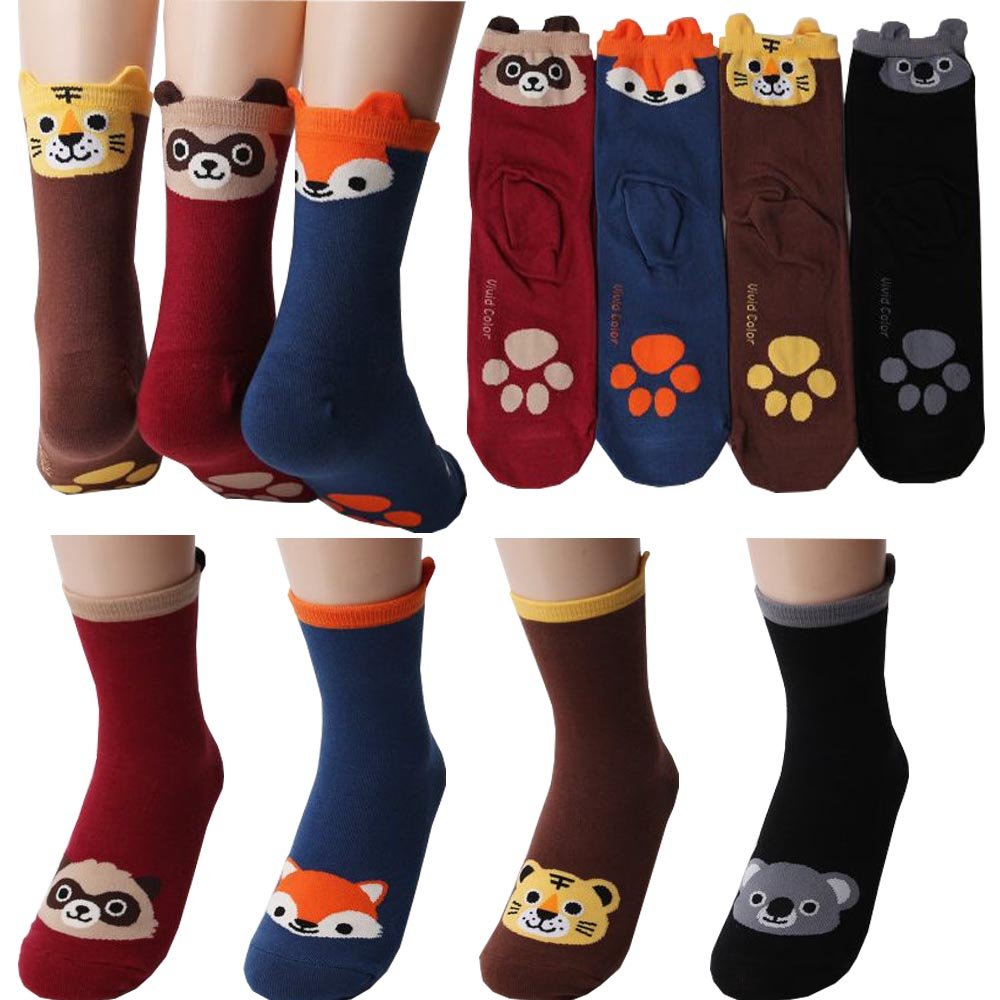 Pack of 4 pairs Sole of Foot Raccoon, Fox, Tiger, Koala Casual Socks