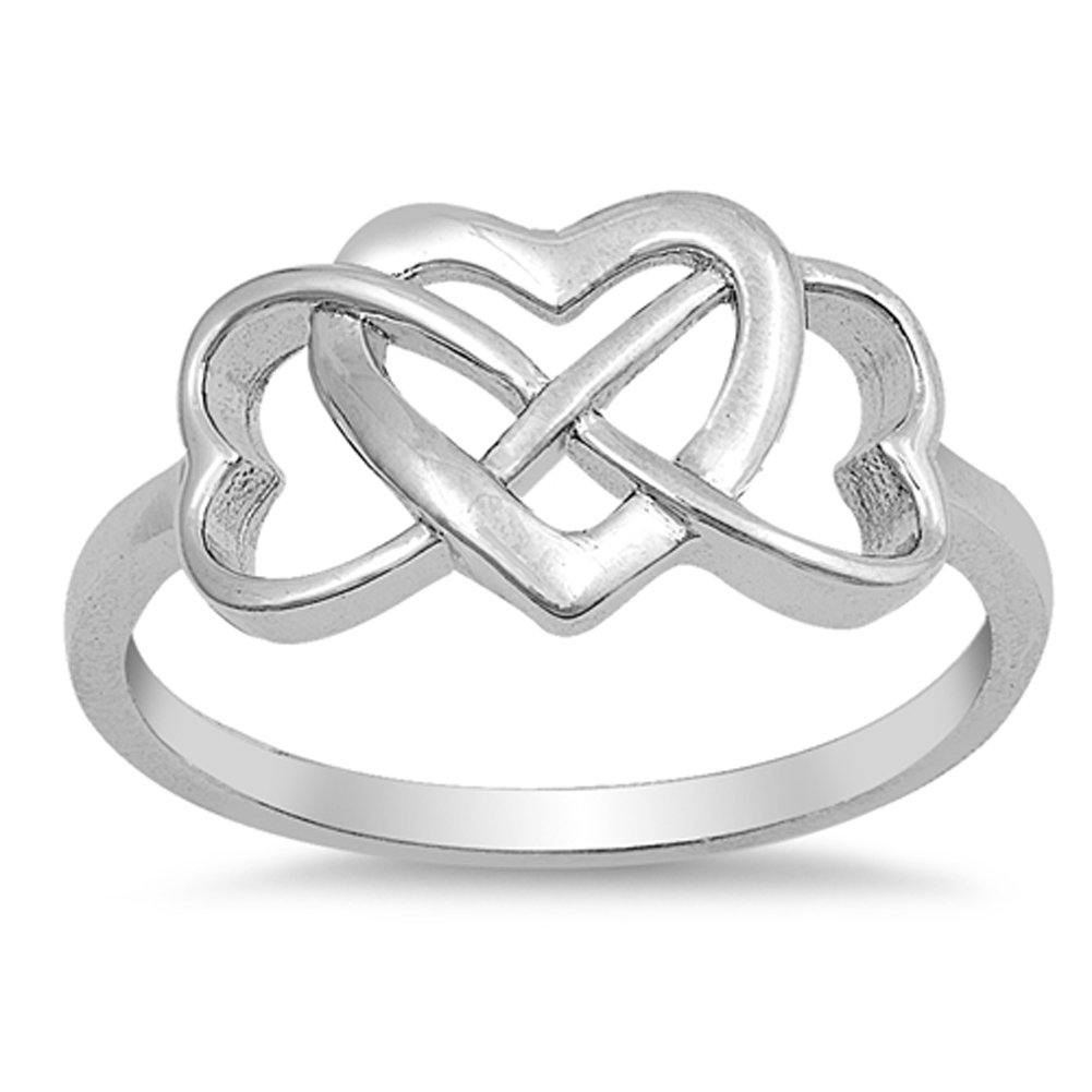CHOOSE YOUR COLOR Sterling Silver Infinity Heart Promise Ring Sac Silver