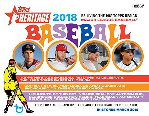 (2018 Topps Heritage Baseball Hobby Box (24 Packs/Box, 9 Cards/Pack: 1 Autograph or Relic, 7)