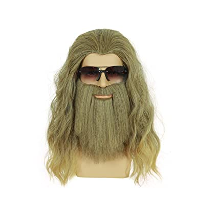 Long Curly Blonde Men Wigs And Thor Endgame Mustacheheat Resistantsyntheticwig For Halloweencosplay Anime Costume Party Gold