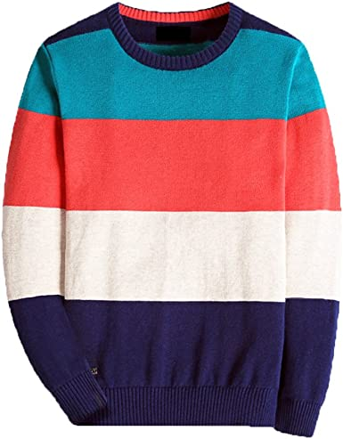 Kid Nation Boys Sweater Long Sleeve Crew Neck Classic Stripes School Uniform Pullover Knit Sweater