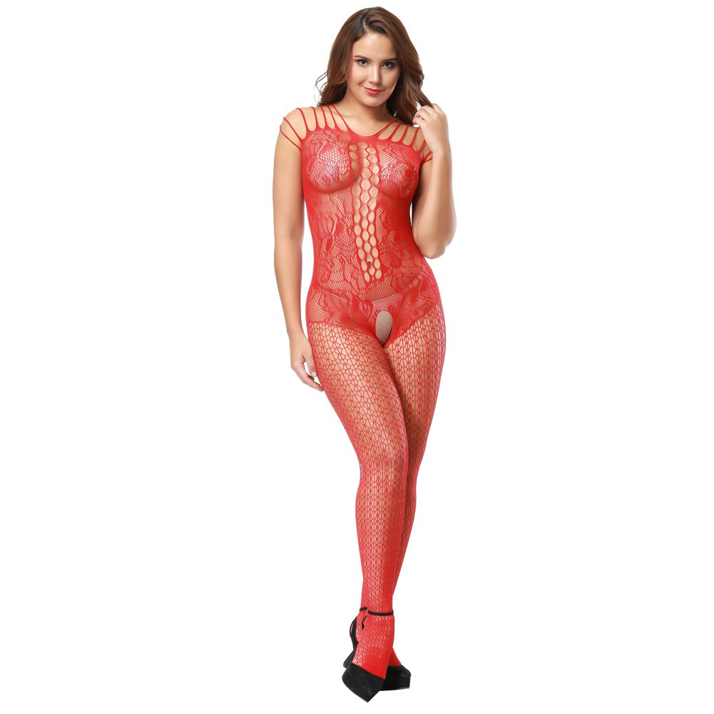 Ciimii Women Hollow Out Fishnet Bodystocking Plus Size Crotchless Bodysuit Lingerie