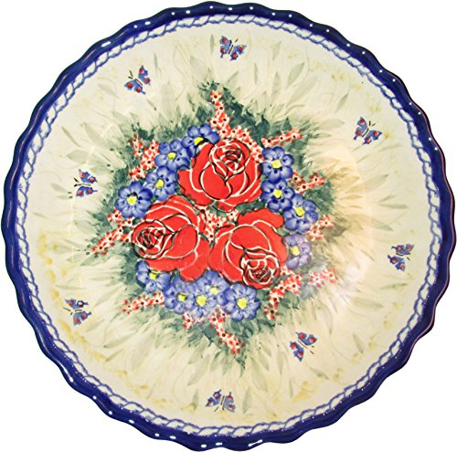 Boleslawiec Stoneware - Polish Pottery Pie Plate or Quiche Baker - Evas Collection  inchWild Roses inch