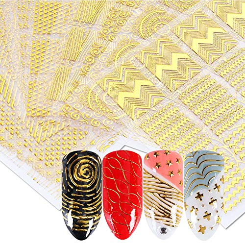 (Lookathot 16Sheets 3D Gold Metallic Nail Art Stickers Decals Self-ahesive Geometric Texture Line Mixed Design DIY Decoration Accessories Manicure)