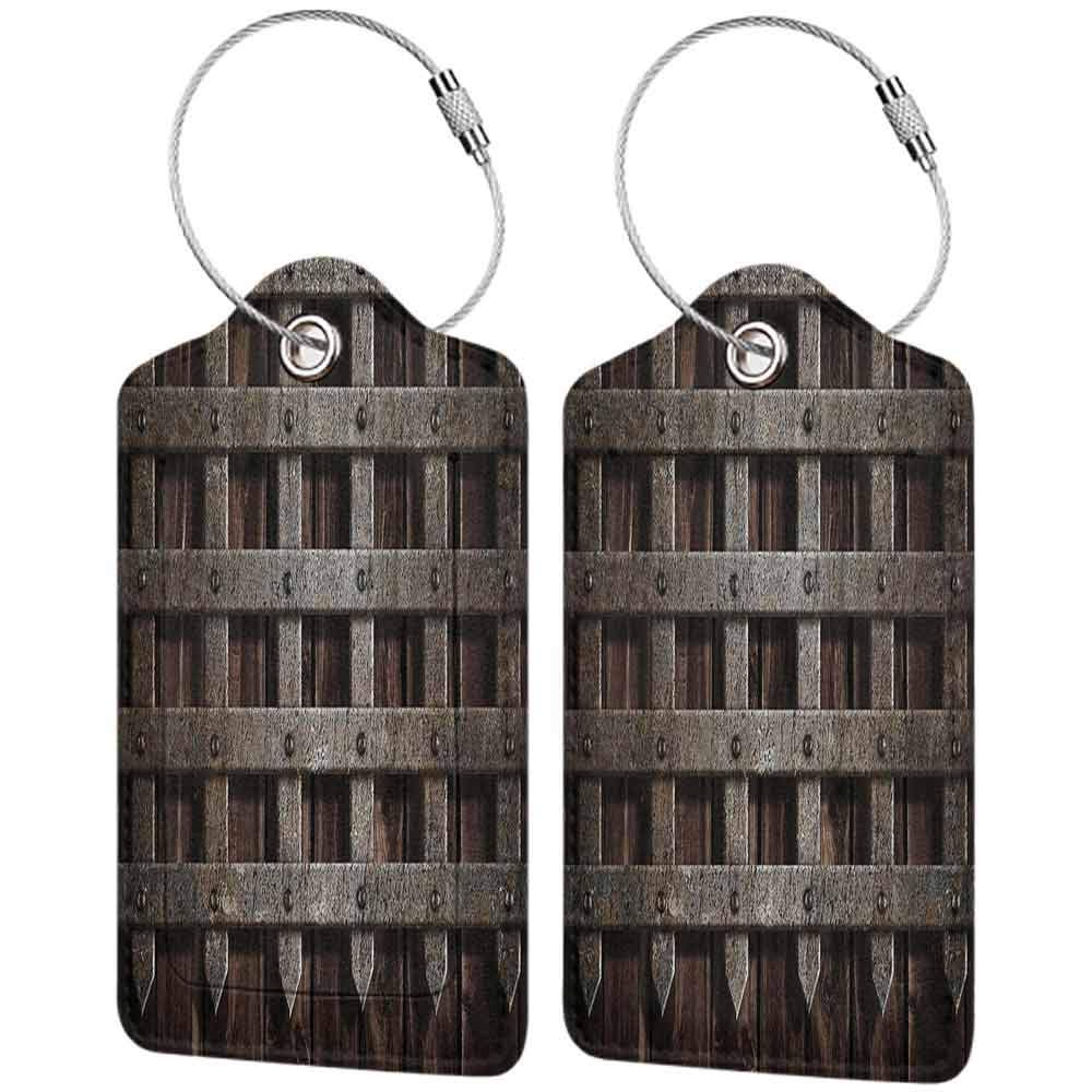 Modern luggage tag Medieval Decor Medieval Wooden Castle Wall Metal Gate Greek Mid century Design Art Print Suitable for children and adults Dark Wood W2.7 x L4.6