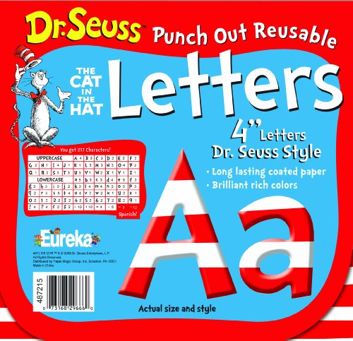 Dr Seuss Paper (Eureka Back to School Dr. Seuss ABC Letter Cutouts, 200pc, 4'' x 4'')