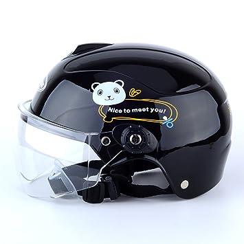 Cascos de Moto para Niños Bicicletas Ligeras para Niños Sombreros de Seguridad,Black