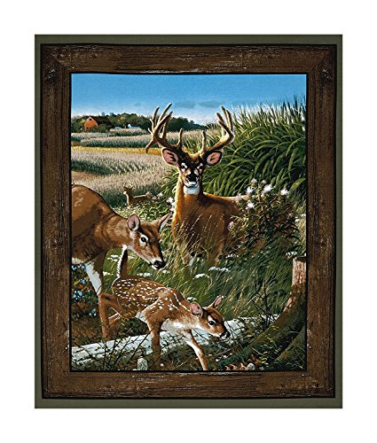 Wild Deer Hunting Scenic Cotton Fabric Panel (Great for Quilting, Sewing, Craft Projects, Quilt or Wall Hanging) 36